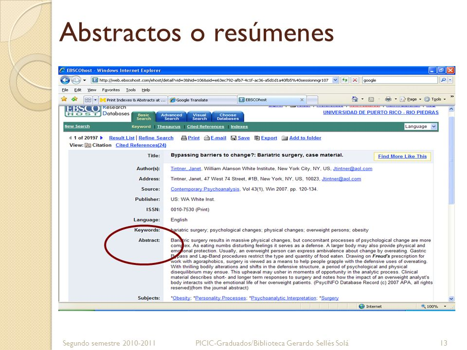 Texto completo Segundo semestre 2010-2011PICIC-Graduados/Biblioteca Gerardo Sellés Solá 14