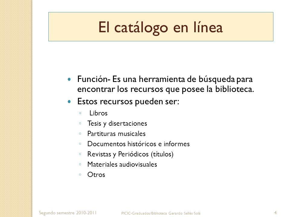 Segundo semestre 2010-2011 PICIC-Graduados/Biblioteca Gerardo Sellés Solá 5 Catálogos de la biblioteca en tarjetas catálogo de la biblioteca cuyos registros están en formato impreso, en tarjetas y pueden accederse manualmente