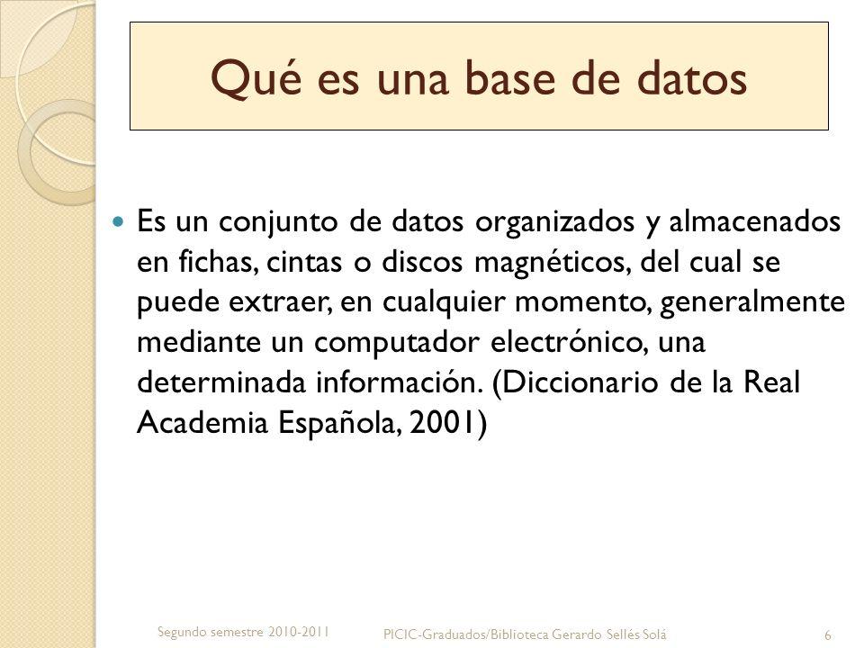 Qué es una base de datos Una base de datos se organiza en campos, registros y archivos que se interrelacionan y que a través de un programa de computadora pueden ser consultados para obtener una información específica.