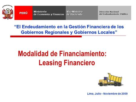 Modalidad de Financiamiento: Leasing Financiero