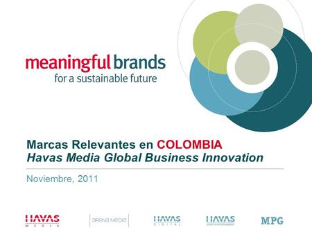 Marcas Relevantes en COLOMBIA Havas Media Global Business Innovation Noviembre, 2011.