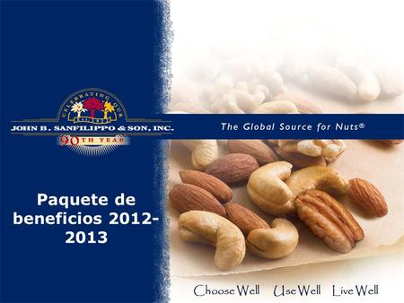 Paquete de beneficios 2012- 2013 Choose Well Use Well Live Well.