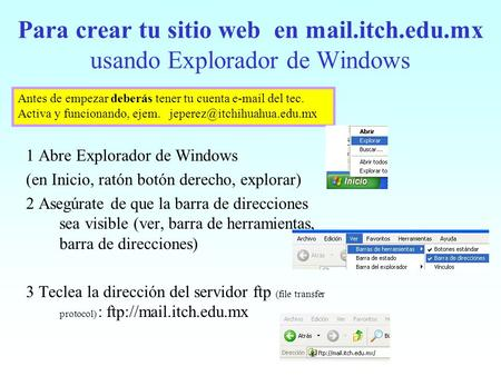 Para crear tu sitio web en mail. itch. edu