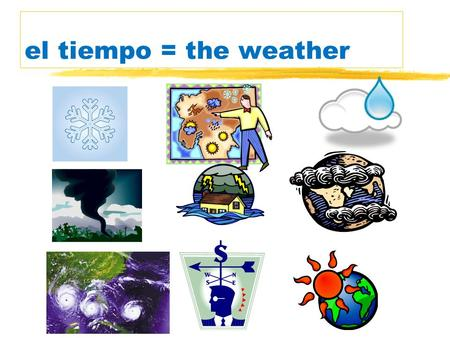 el tiempo = the weather Los verbos… verbs zHacer=to do or to make zHace = It makes [Its making] or It does [Its doing] zHay = There is [Theres] or There.