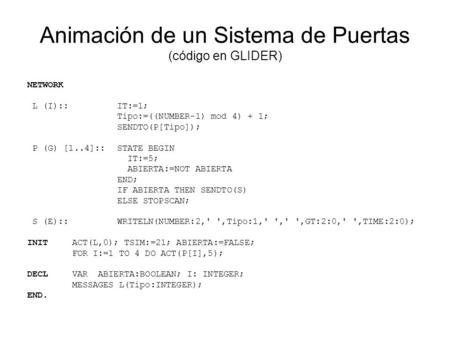 Animación de un Sistema de Puertas (código en GLIDER) NETWORK L (I)::IT:=1; Tipo:=((NUMBER-1) mod 4) + 1; SENDTO(P[Tipo]); P (G) [1..4]::STATE BEGIN IT:=5;