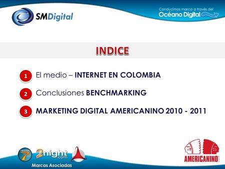 El medio – INTERNET EN COLOMBIA Conclusiones BENCHMARKING MARKETING DIGITAL AMERICANINO 2010 - 2011 3 3 1 1 2 2.