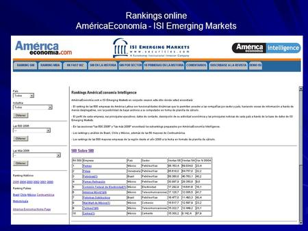 Rankings online AméricaEconomía - ISI Emerging Markets