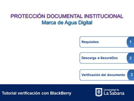 Tutorial verificación con BlackBerry Requisitos 1 Descarga e-SecureDoc 2 Verificación del documento 3 PROTECCIÓN DOCUMENTAL INSTITUCIONAL Marca de Agua.