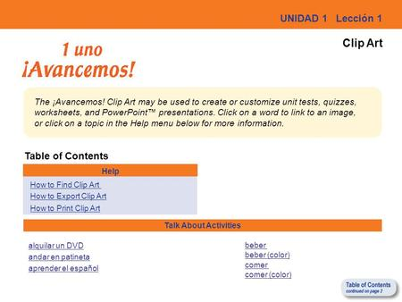 Clip Art UNIDAD 1 Lección 1 Table of Contents
