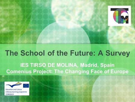 The School of the Future: A Survey IES TIRSO DE MOLINA, Madrid, Spain Comenius Project: The Changing Face of Europe.