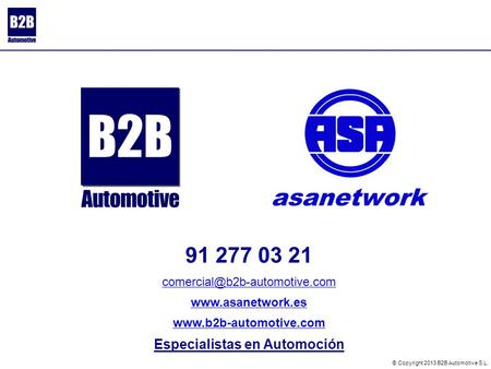 91 277 03 21   Especialistas en Automoción © Copyright 2013 B2B Automotive S.L.