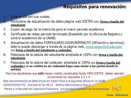 Requisitos para renovación: