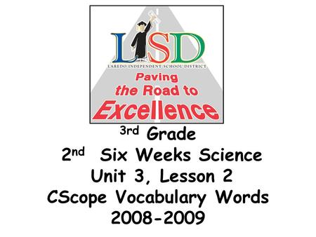 3rd Grade 2 nd Six Weeks Science Unit 3, Lesson 2 CScope Vocabulary Words 2008-2009.