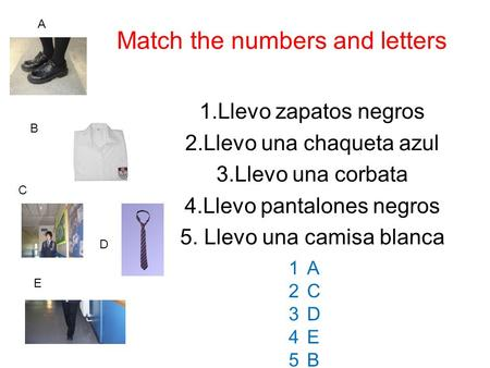 Match the numbers and letters