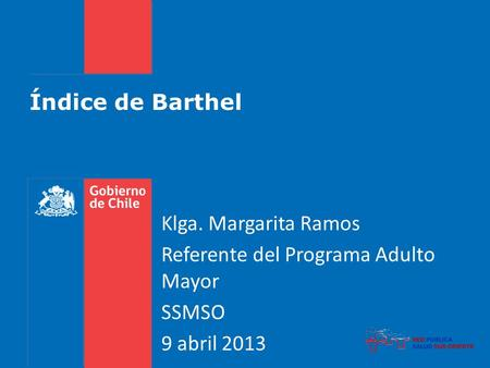 Índice de Barthel Klga. Margarita Ramos Referente del Programa Adulto Mayor SSMSO 9 abril 2013.
