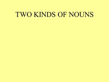 TWO KINDS OF NOUNS. COMMON NOUNS TAKE THE WORD THE PROPER NOUNS ARE NAMES THE WORD THE IS CALLED A MARKER.