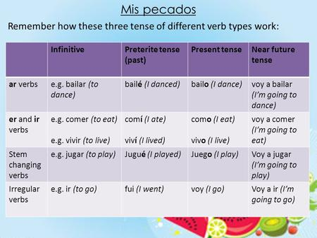Mis pecados Remember how these three tense of different verb types work: InfinitivePreterite tense (past) Present tenseNear future tense ar verbse.g. bailar.