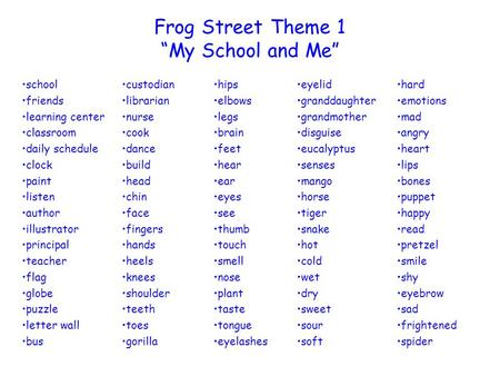 Frog Street Theme 1 My School and Me school friends learning center classroom daily schedule clock paint listen author illustrator principal teacher flag.