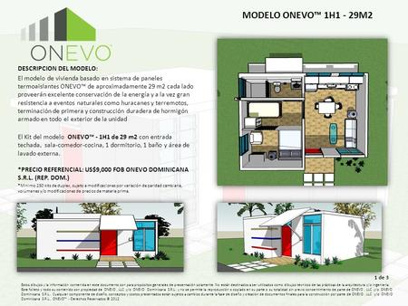 MODELO ONEVO™ 1H1 - 29M2 DESCRIPCION DEL MODELO: