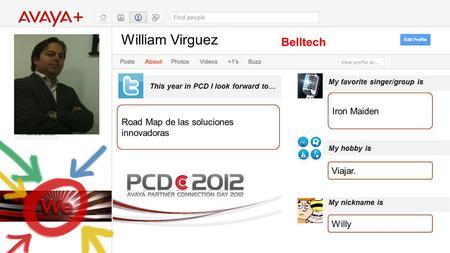 William Virguez This year in PCD I look forward to… Belltech Road Map de las soluciones innovadoras My favorite singer/group is My hobby is My nickname.