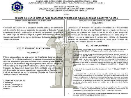 Ministerio de seguridad p blica concurso interno para for Ministerio de seguridad telefonos internos
