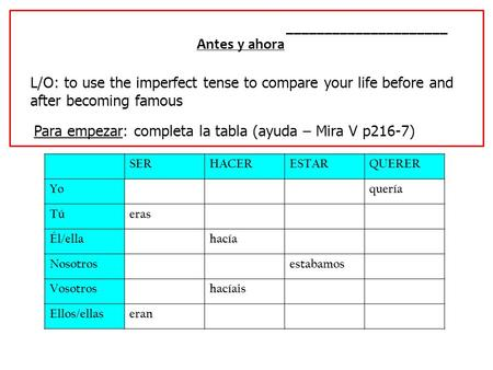 _____________________ Antes y ahora L/O: to use the imperfect tense to compare your life before and after becoming famous Para empezar: completa la tabla.