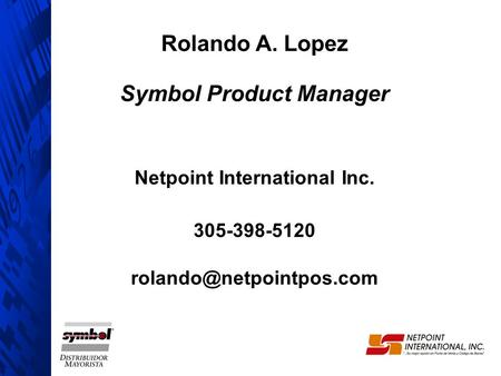 Symbol Product Manager Netpoint International Inc.