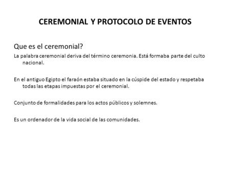 CEREMONIAL Y PROTOCOLO DE EVENTOS