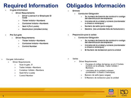 11 Required Information Obligados Información In-gate information Driver Requirements Driver License # or Employee ID Code Trailer Initials + Numbers Container.