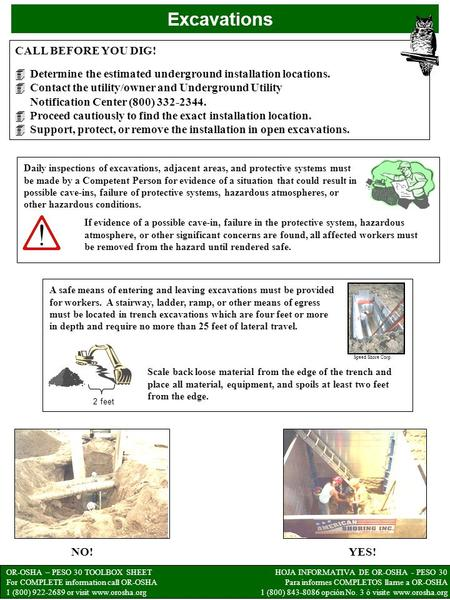 OR-OSHA – PESO 30 TOOLBOX SHEET For COMPLETE information call OR-OSHA 1 (800) 922-2689 or visit www.orosha.org HOJA INFORMATIVA DE OR-OSHA - PESO 30 Para.