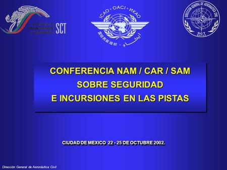 Direcciön General de Aeronáutica Civil CONFERENCIA NAM / CAR / SAM SOBRE SEGURIDAD E INCURSIONES EN LAS PISTAS CONFERENCIA NAM / CAR / SAM SOBRE SEGURIDAD.