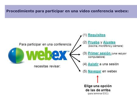 Para participar en una conferencia necesitas revisar: Procedimiento para participar en una video conferencia webex: (1) RequisitosRequisitos (2) Prueba.