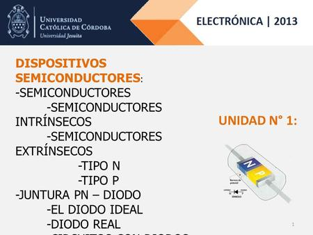 DISPOSITIVOS SEMICONDUCTORES : -SEMICONDUCTORES -SEMICONDUCTORES INTRÍNSECOS -SEMICONDUCTORES EXTRÍNSECOS -TIPO N -TIPO P -JUNTURA PN – DIODO -EL DIODO.
