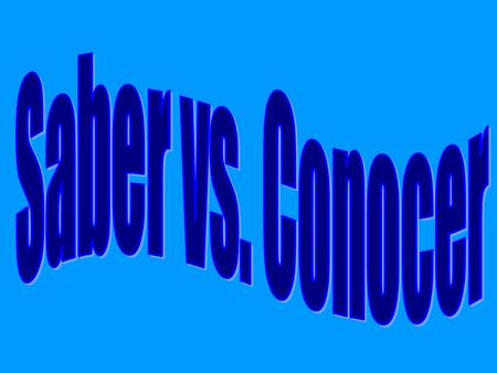 Both verbs, saber and conocer mean: How do I know when to use saber and when to use conocer?