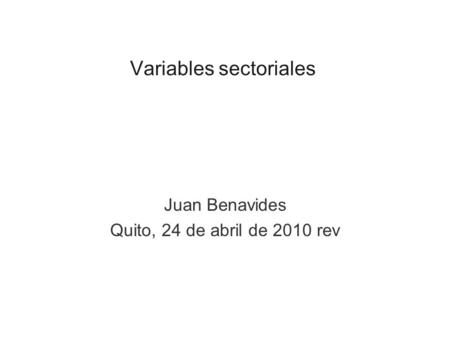 Variables sectoriales