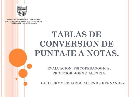 TABLAS DE CONVERSION DE PUNTAJE A NOTAS.
