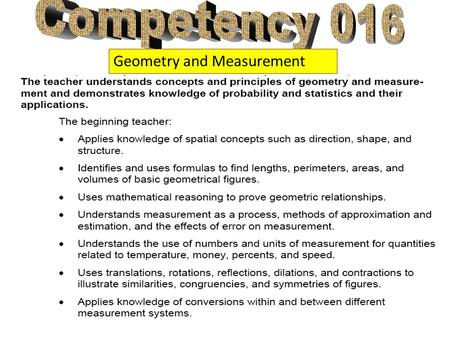 Competency 016 Geometry and Measurement.
