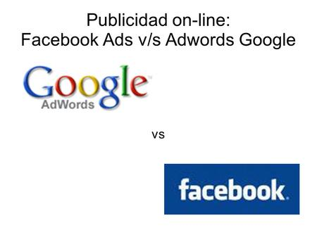 Publicidad on-line: Facebook Ads v/s Adwords Google