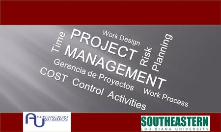 Gerencia de Proyectos PROJECTMANAGEMENT Time COST Activities Work Process Risk Work Design Control Planning.