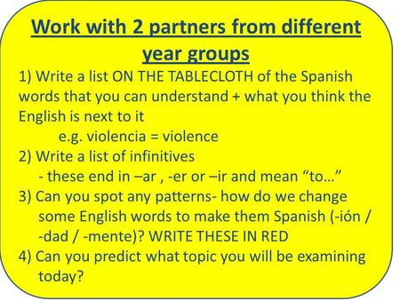 Work with 2 partners from different year groups 1) Write a list ON THE TABLECLOTH of the Spanish words that you can understand + what you think the English.