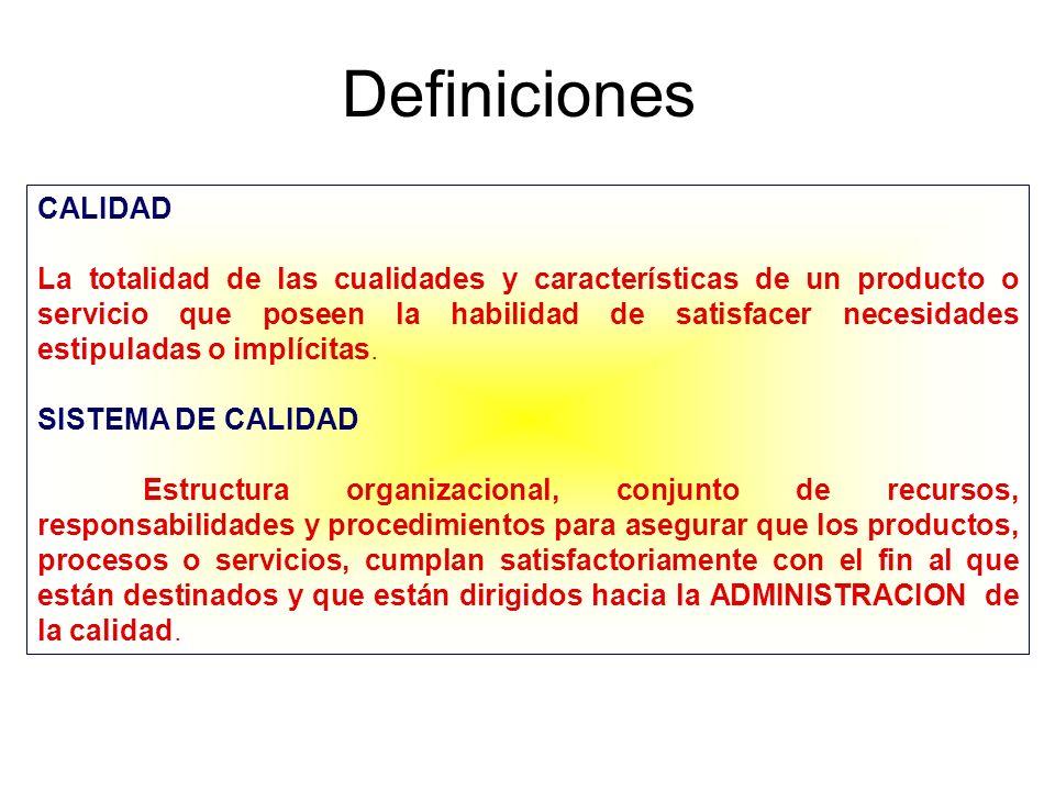 Definiciones CONTROL DE CALIDAD Conjunto de métodos y actividades de carácter operativo, que se utilizan para satisfacer el cumplimiento de los requisitos de calidad establecidos (inspección, pruebas y ensayos) ASEGURAMIENTO DE CALIDAD Conjunto de actividades planeadas y sistemáticas que lleva acabo una empresa, con el objeto de brindar la confianza apropiada de que un producto cumple con los requisitos de calidad especificados.