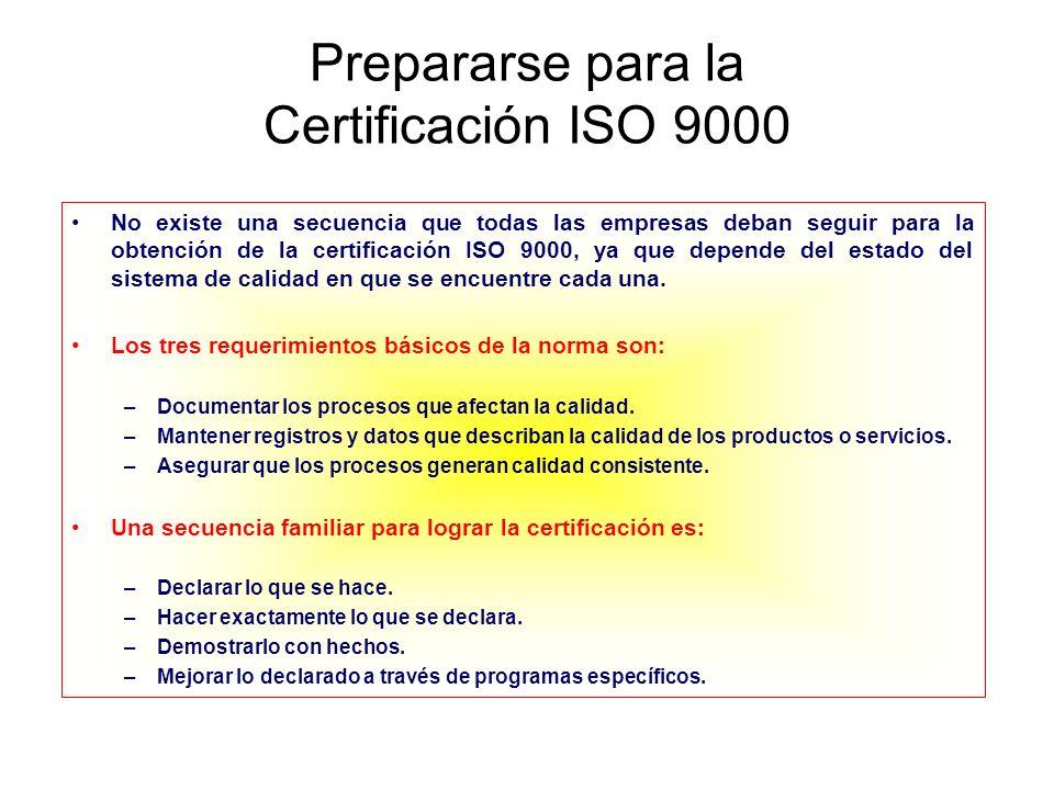 Pasos recomendados para la Certificación Fase IOrganizarse para la certificación –Lograr el compromiso de la alta dirección –Conformar un comité de calidad que sea capaz de: Asignar responsabilidades Determinar el tipo de norma bajo la cual se obtendrá la certificación Determinar si existen otro tipo de requerimientos que cumplir (QS, especificaciones de los clientes, normas de sanidad, etc.) Identificar los sitios y partes que estarán involucrados Establecer un plan de trabajo Elaborar el programa Determinar si se utilizará un asesor especialista externo o no –Entrenar al personal (Clave para el éxito) –Iniciar las auditorías internas –Seleccionar a un despacho certificador