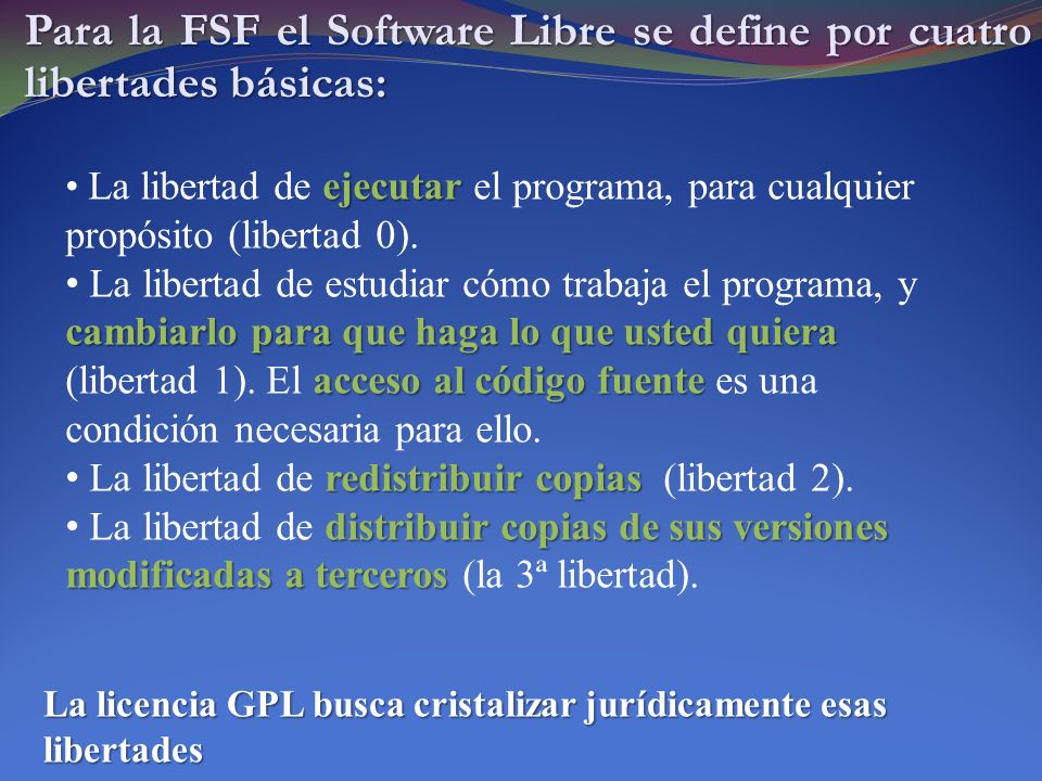 La General Public License (1) ¨When we speak of free software, we are referring to freedom, not price.