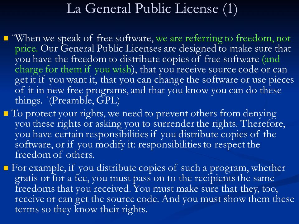 La General Public License (2) Developers that use the GNU GPL protect your rights with two steps: (1) assert copyright on the software, and (2) offer you this License giving you legal permission to copy, distribute and/or modify it.