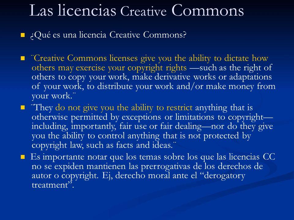 Las licencias Creative Commons Hay cuatro tipos de permisos que se combinan a voluntad del titular en las licencias: Attribution.
