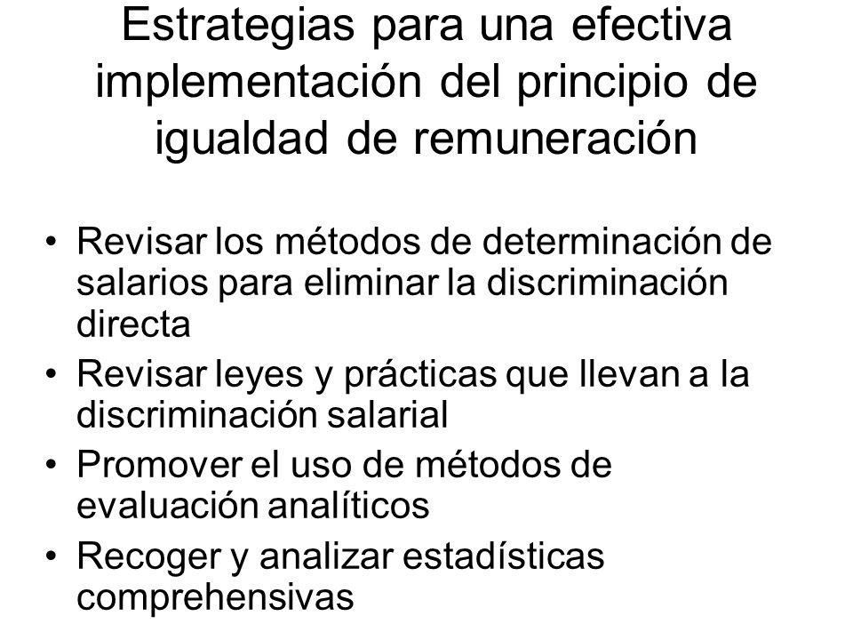 Estrategias para una efectiva implementación del principio de igualdad de remuneración Instaurar consejos de igualdad de remuneraciones Incluir provisiones para la igualdad de remuneraciones en la legislación y acuerdos colectivos Solicitar a los empleadores planes de acción para la igualdad de remuneraciones Desarrollar programas especiales de capacitación y dotar de recursos a los inspectores laborales
