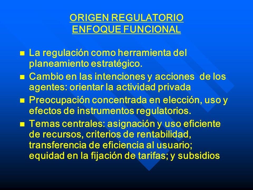 ORIGEN REGULATORIO ENFOQUE ECONOMICO n n Regulación es protección: cuándo y por qué productores y/o consumidores necesitan o usan al Estado n n Es mejor menos que más regulación: interferencia en el mercado tiene alto riesgo.