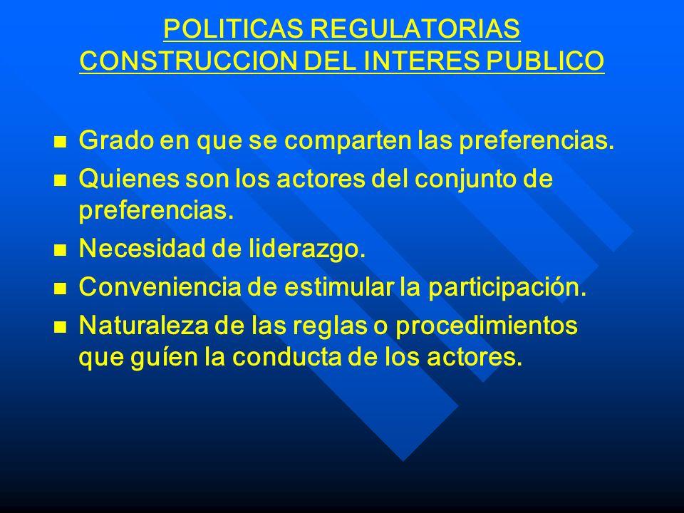 POLITICAS REGULATORIAS PROBLEMAS DE CONSTITUCION n n Naturaleza de las partes que proponen la regulación (iniciativa nacional vs condicionalidad, estatización vs privatización).