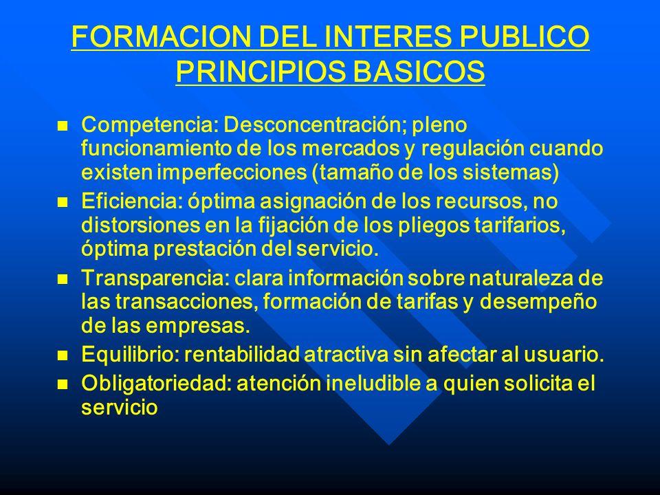FORMACION DEL INTERES PUBLICO PRINCIPIOS BASICOS n n Neutralidad: no discriminación a ofertantes o usuarios.