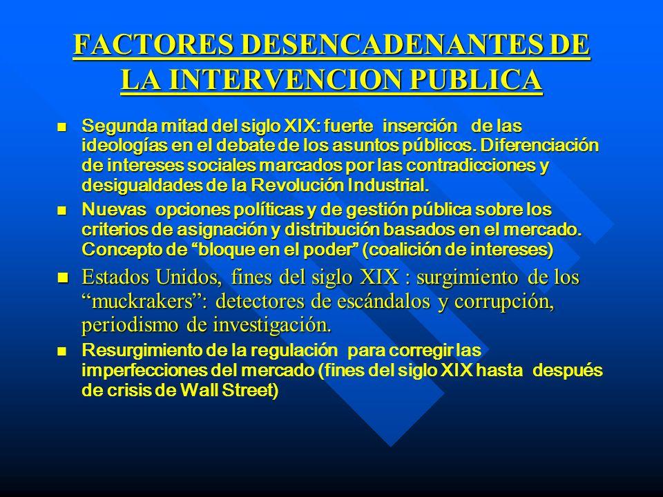 FACTORES DESENCADENANTES DE LA INTERVENCION PUBLICA n n Estados Unidos: El insullismo (Samuel Insull) modelo empresarial del futuro (Insull Utility Investments).
